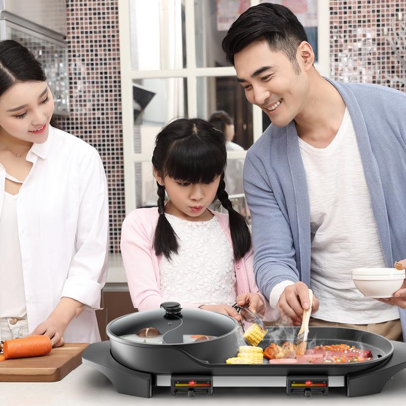 бытовой электрический гриль электрическую плиту корейский теппаньяки бездымный не держаться рыба на гриле стейк барбекю машина плита