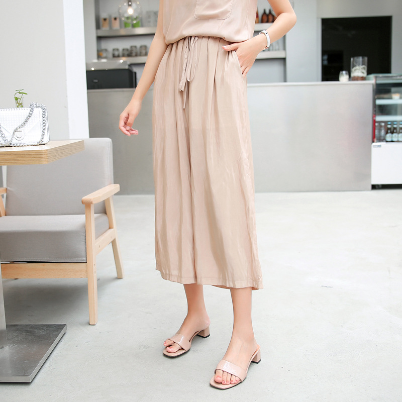 F382 summer leisure Vest + wide leg pants suit cuprammonium leisure loose thin section set of two Ms.