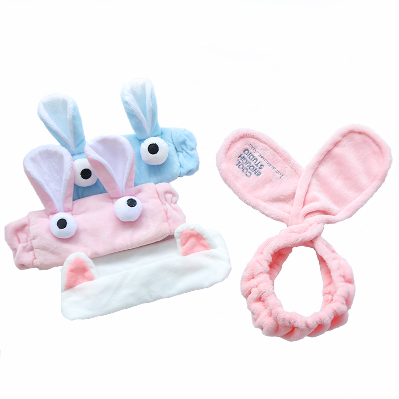 A cute bow wash hair band Korea rabbit cat ears headband cloth wash hair wigs hair female pressure