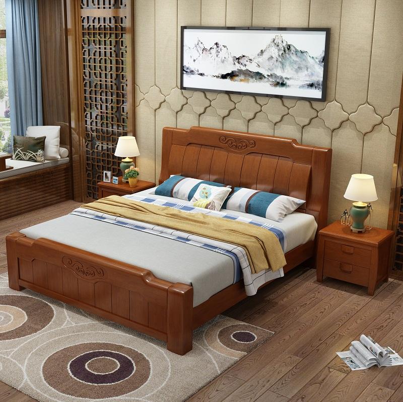 Jiangxia solid bed double bed storage bed oak high box simple modern Chinese style 1.51.8 meter bed master bedroom
