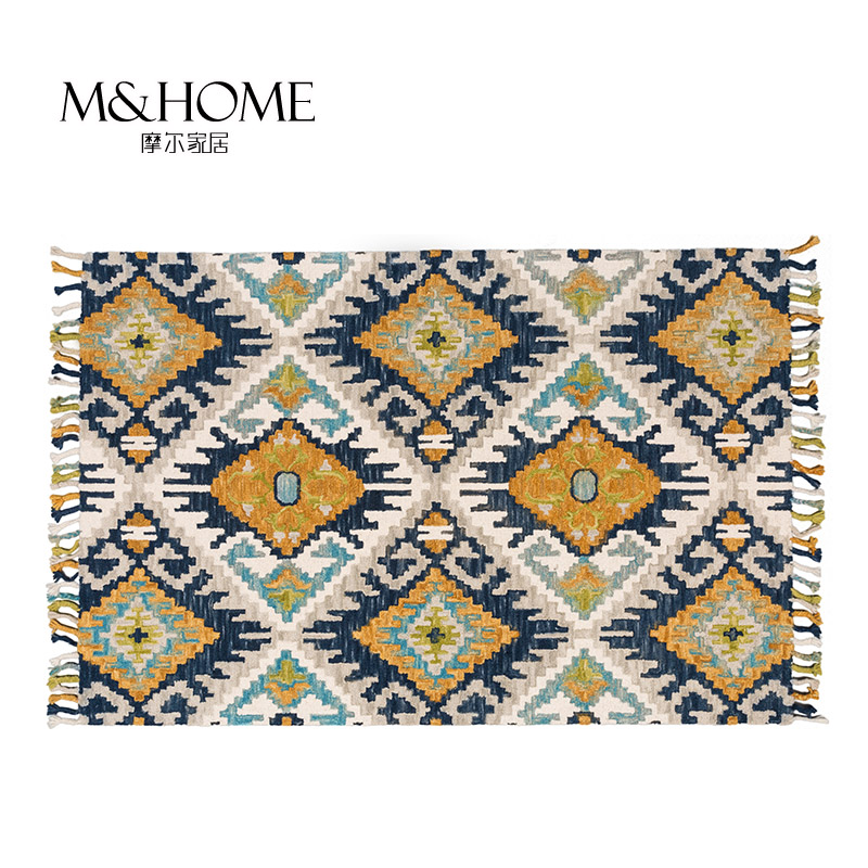 India imports Kilim North European and American style handmade pure wool, thickening tassels bedroom living room carpet