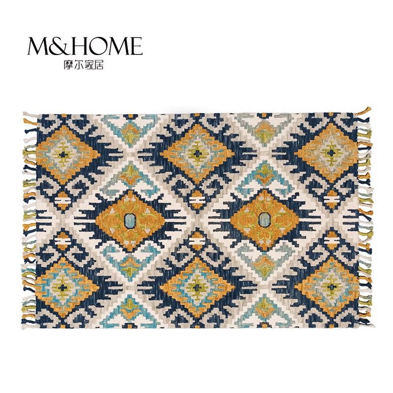 Северная Европа и Индийского импорта Kilim типа геометрия ручной чистой шерсти утолщение поднятым спальни, гостиной ковер