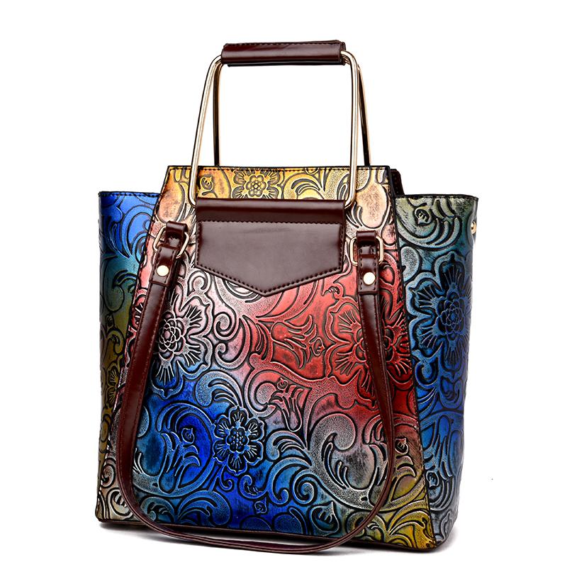 黃色2017新款壓花撞色民族風復古托特包民族風手繪女包軟皮商務手提包