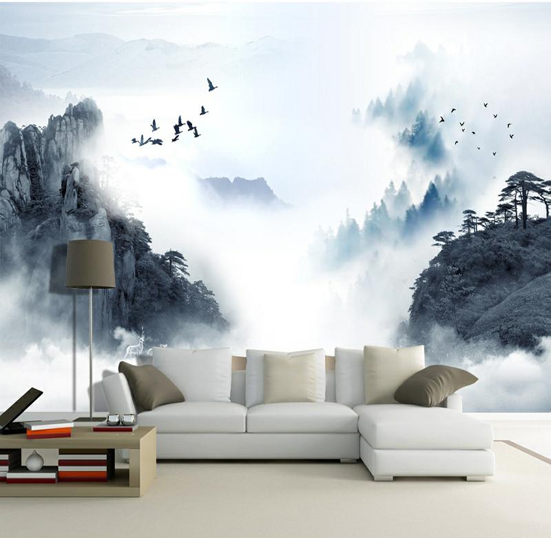 【整張】歐式無縫無紡布(超值)新中式壁畫3d水墨山水風景壁紙客廳大氣沙發背景墻民族風墻紙墻布