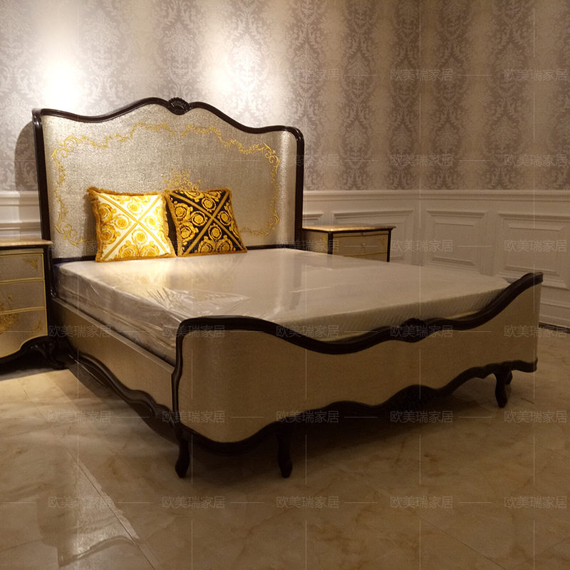 European style bed, new classical solid wood bed, English double bed, high-end villa furniture, marriage bed