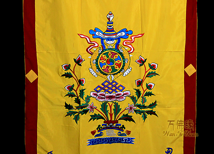 Tibetan embroidery, pure handmade embroidery, eight auspicious combination, six word mantra, pure cotton cloth, single layer
