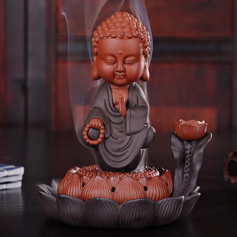 фиолетовый вспять кадило керамические Татхагата творческих украшения туба диск кадило аромат сандалового дерева линии кадило ладан включить печь