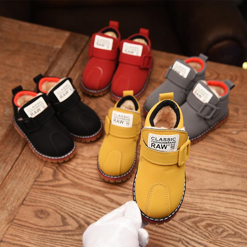 冬季儿童加绒保暖棉靴男童女童棉鞋中小童宝宝鞋软底短筒靴子童鞋