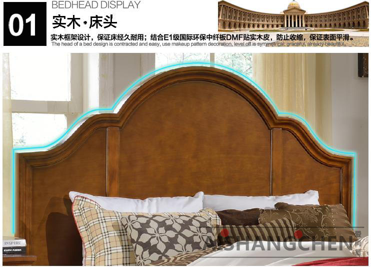 American country solid wood bed, simple modern double bed, master bedroom, 1.8 meter oak, Mediterranean solid wood furniture