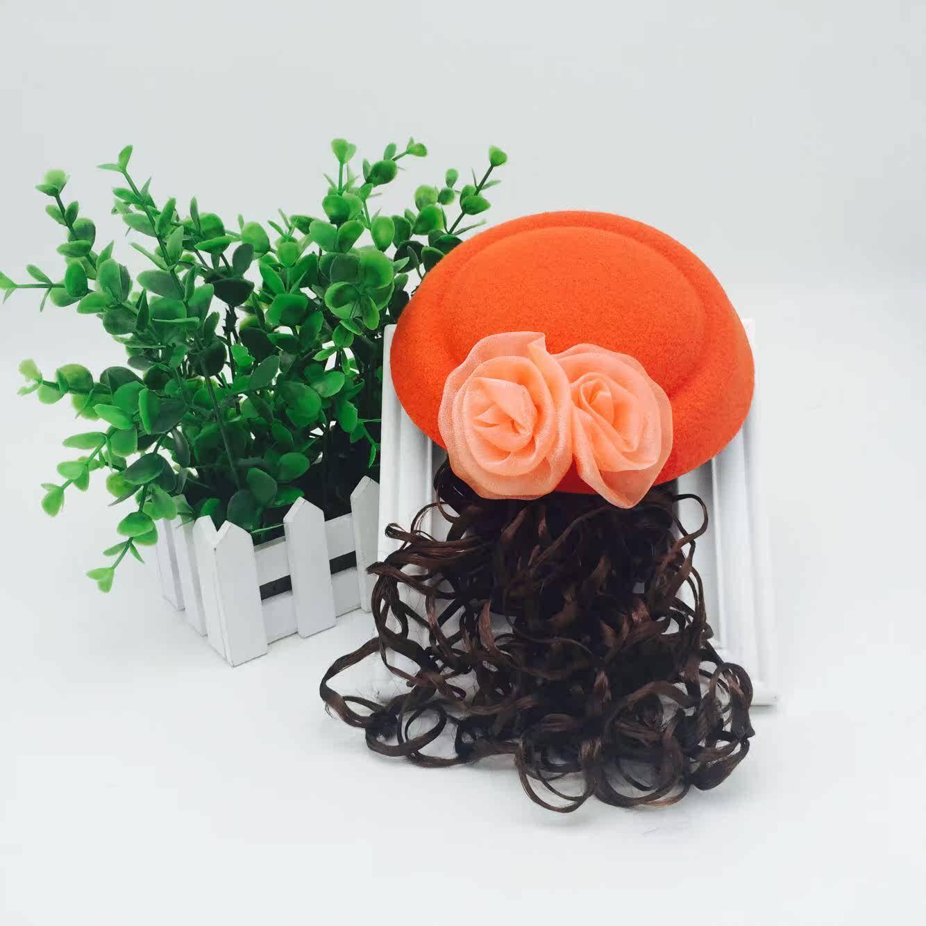 全国儿童加绒帽子假发 女童长卷发 欧美公主发饰演出派对头饰