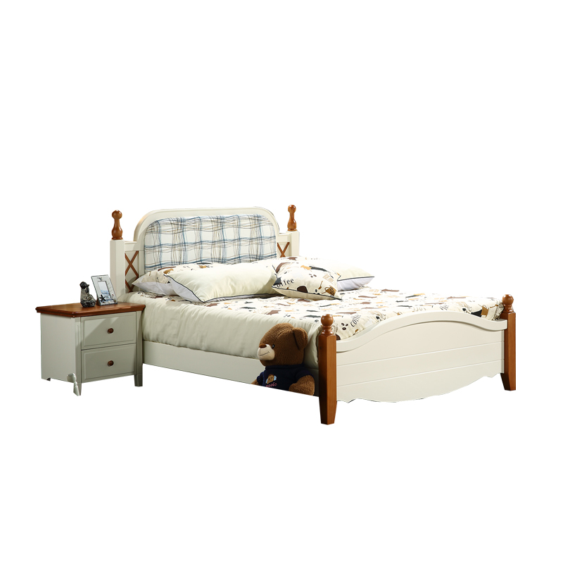 Mediterranean bed all solid wood pine single couple marriage bed children's bed simple modern 1.5/1.8 meters solid wood bed