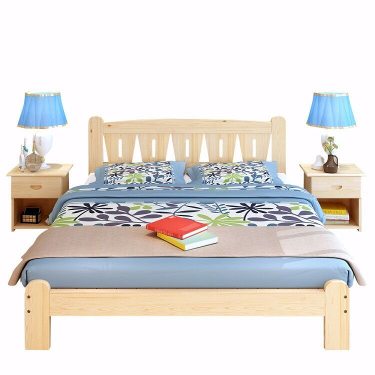 Special offer double bed 1.51.8 meters of pine wood simple tatami wood single bed for children