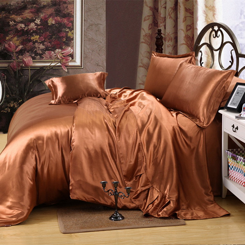 Pure silk satin four piece bedding Tencel fitted 1.5/1.8/2m textile bedding in summer
