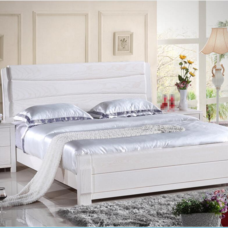 Solid wood bed 1.51.8 open lacquer white ash modern simple Mediterranean Korean style rural bed storage bed