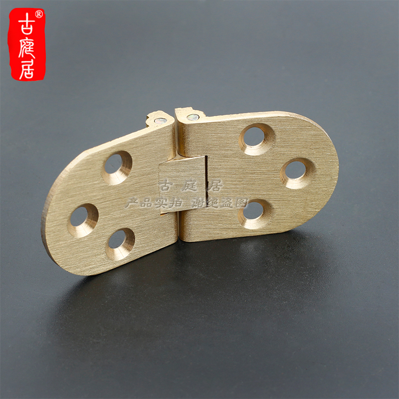 Table hinge, pure copper folding table fittings, round table hinge hinged turning plate semicircle connection hidden hidden copper platform hinge