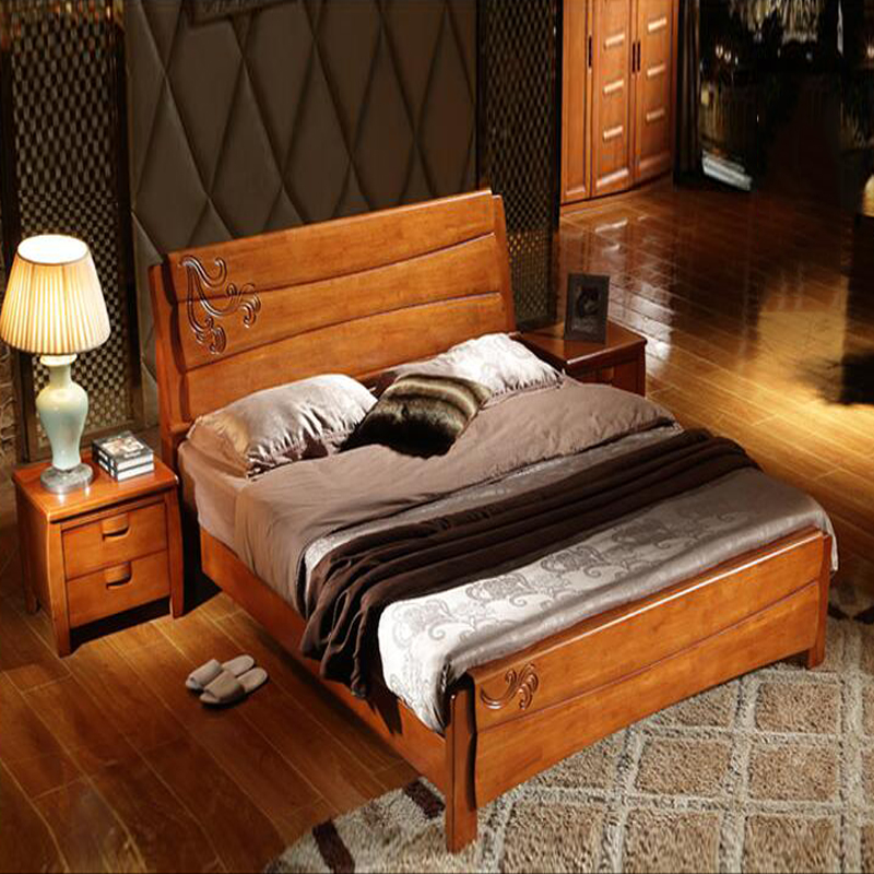 Chinese all solid wood bed double bed, 1.8 meter wedding bed, oak 1.5 meters bed, modern Chinese bed, storage box, high box bed