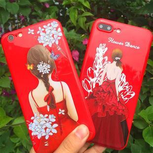 苹果6手机壳iphone6splus女款软壳6s红色超薄手机套7plus防摔半包