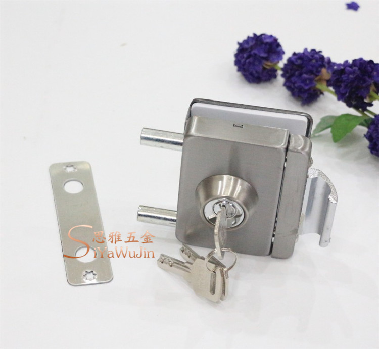 The new single door sliding door lock double square stainless steel office door latch free push pull punching