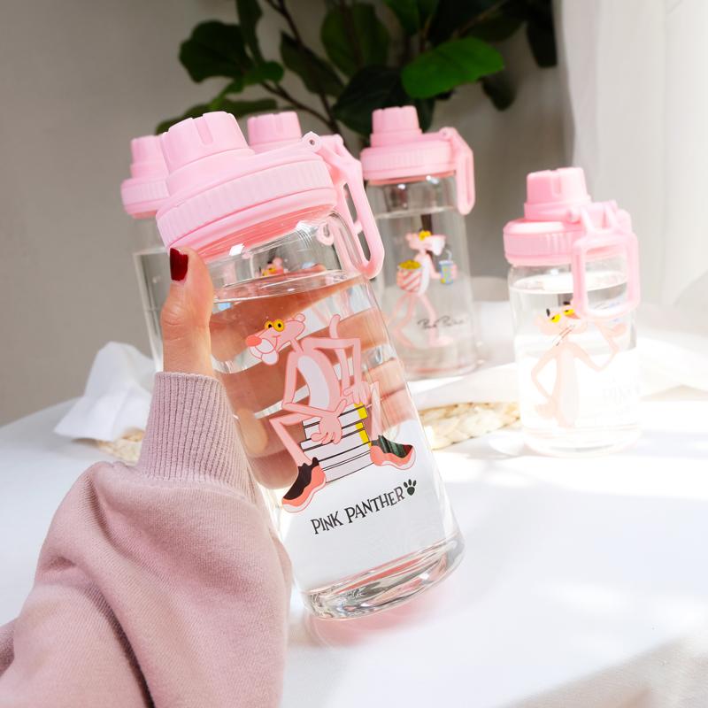 粉紅豹清新隨手玻璃杯韓國簡約潮流女學生便攜提手水杯子