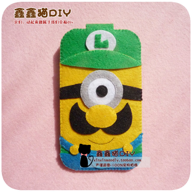[] DIY nonwoven Xinxin cat manual material bag / despicable me little yellow man Marie iPhone mobile phone package