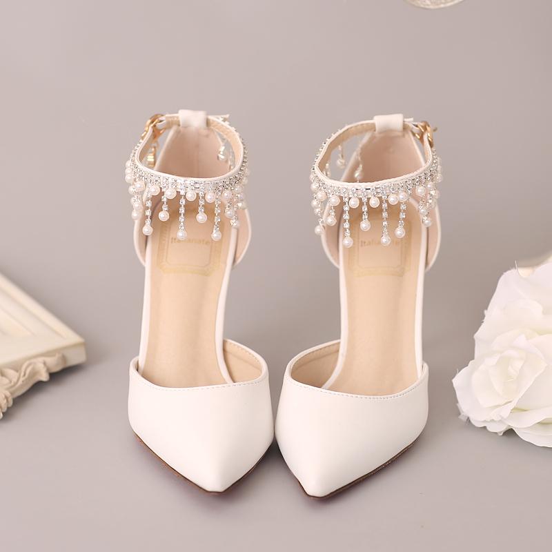 新款白色珍珠水钻新娘鞋红色尖头超高跟婚鞋一字腕带细跟女凉鞋