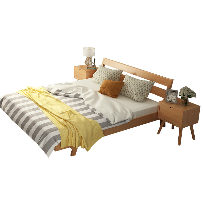 Free installation of modern minimalist master bedroom solid bed double bed 1.51.8 meters Nordic package installation