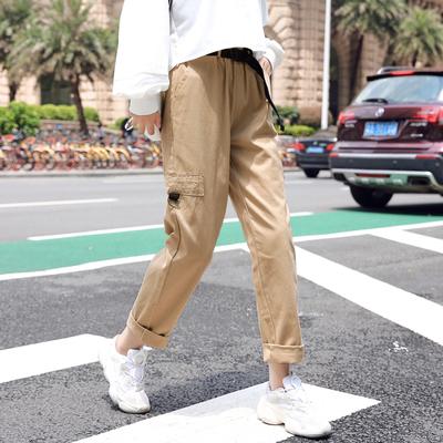 002实拍三标小视频 韩版chic宽松显瘦哈伦长裤女百搭休闲工装裤