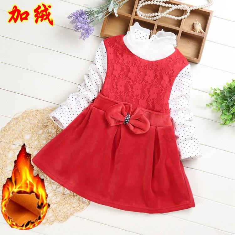 女童加绒蕾丝连衣裙针织保暖红色打底公主裙2017新款韩版冬季长袖