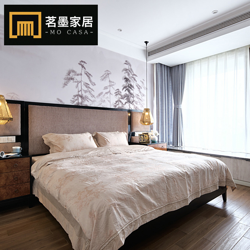 Rear harbor light luxury series furniture, Hongkong style light luxury 1.8m solid wood double bed, marriage bed bedroom furniture customization