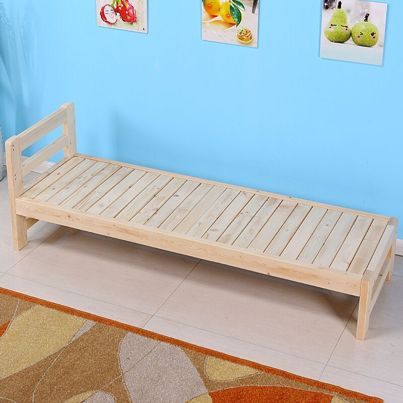 Solid wood bed rail bed children fight simple single bed widening tatami sofa bed made of pine