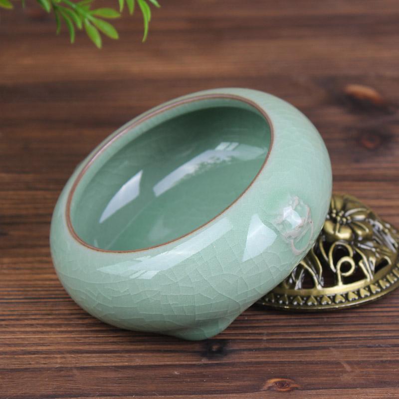 селадон Ароматерапия печь с ручной старинные керамические Будда сплав меди покрытия алой кадило ладан фимиам сандалового дерева