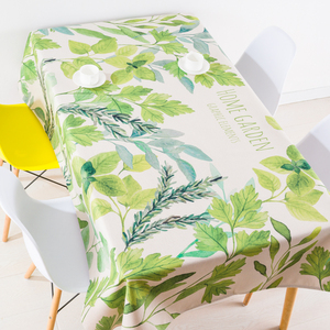 北欧ins清新植物棉麻桌布布艺茶餐桌台布简约田园长方圆桌布盖布