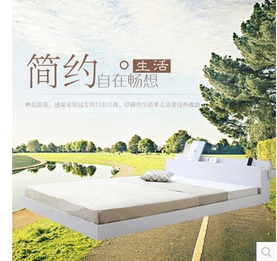 Modern minimalist type bed solid wood bed 1.2 meters 1.5 meters 1.8 meters double bed tatami simple particle board