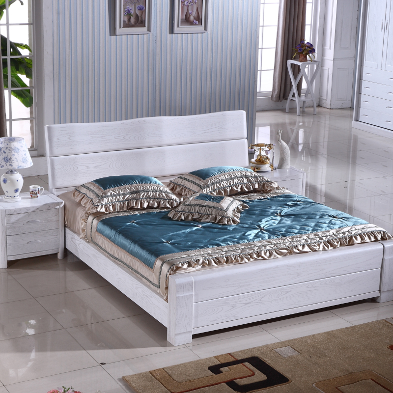 Elm bed full solid wood bed 1.51.8 meters double wedding bed white logs high box bed in modern Chinese style furniture