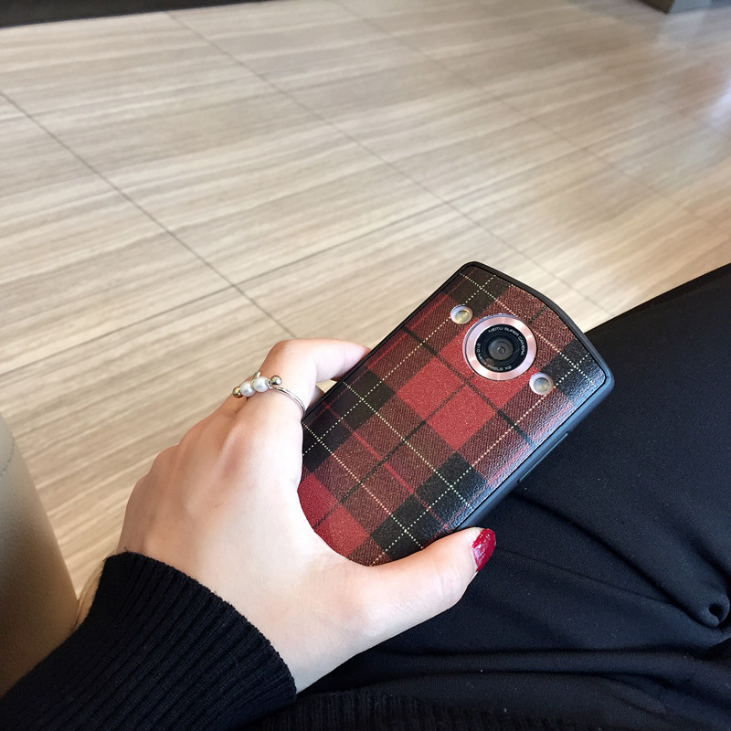 Simple Black Plaid Mito T8/T8S mobile phone shell M6S package V4/M4 soft protective sleeve M8S lanyard female models