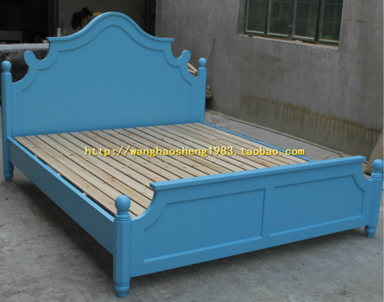 American country solid wood bed furniture customization bedroom green double bed high-end furniture birch bed oak bed recommended