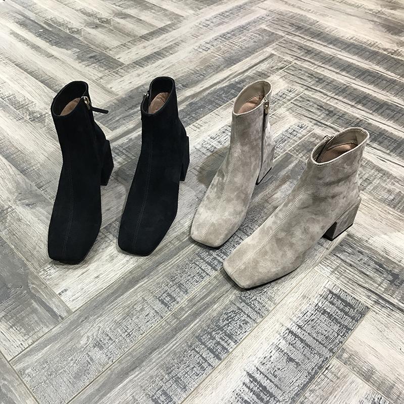 europæisk stil station og 2017 hamdle får hård med jing læder square tube martin støvler højhælede sko -