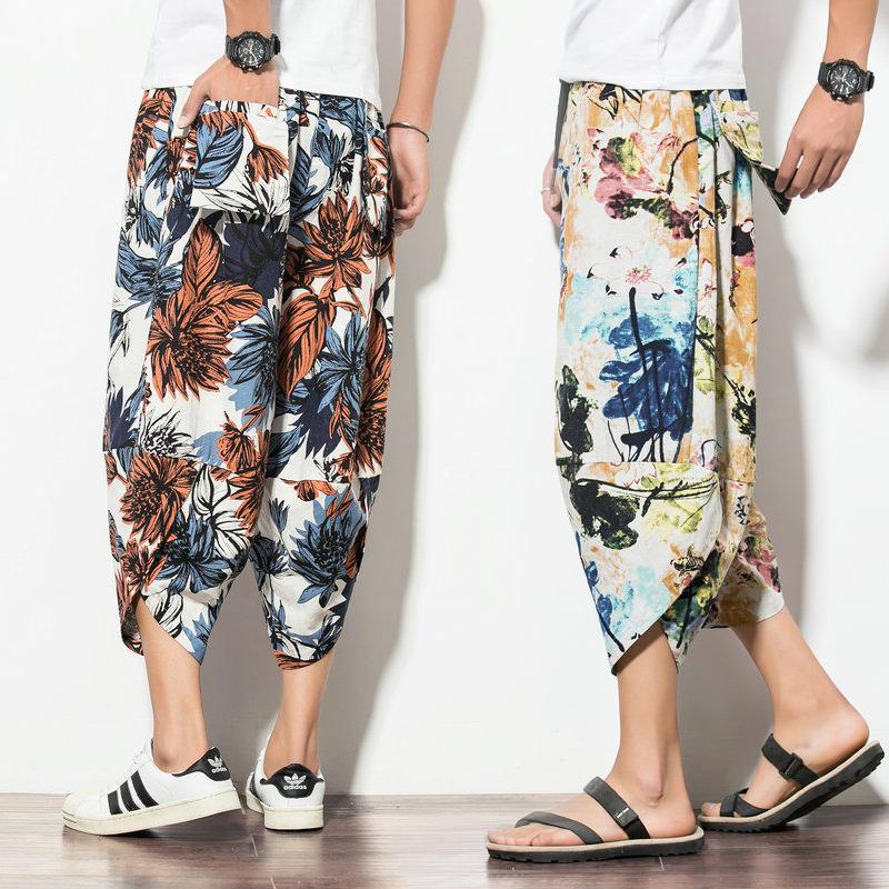 夏季男士阔腿裤男宽松泰国裤子灯笼裤潮流大码七分掉档裤男花裤子