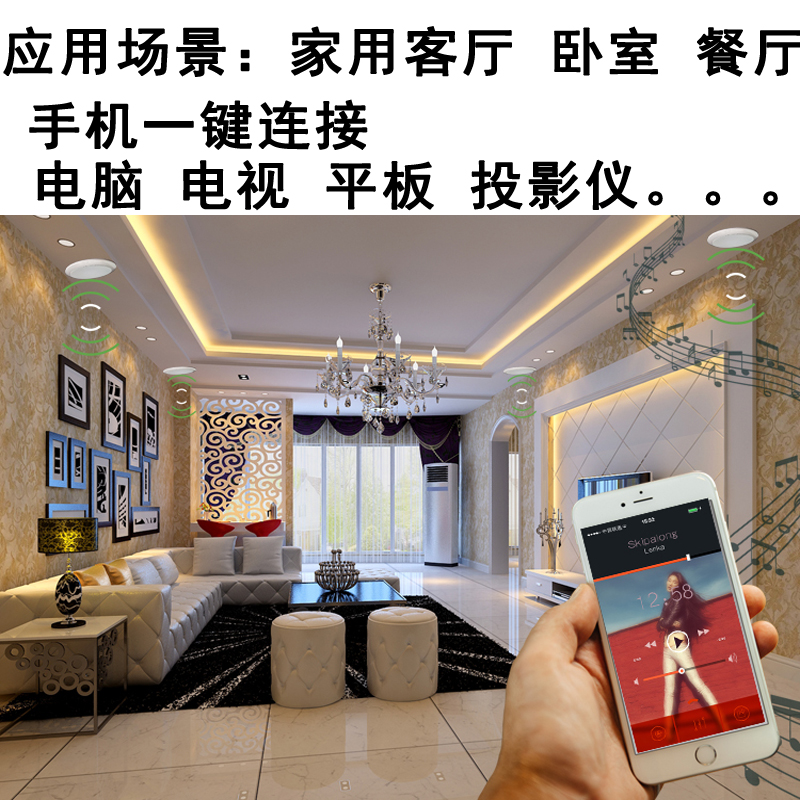 Professional bass embedded wireless Bluetooth roof trumpet background music sound set home ceiling box