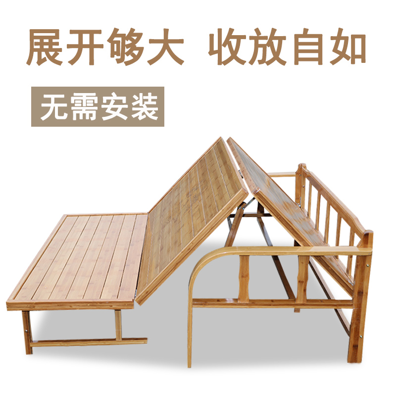 Bamboo bed folding bed, solid wood double bed, 1.51.8 meter single bed, 1.2 meters multifunctional sofa bed for adults