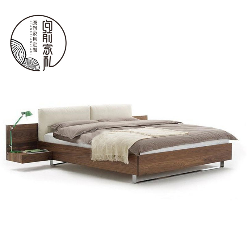 The wind with oak wood double soft tatami bed by simple modern black walnut bed with bedside cabinet