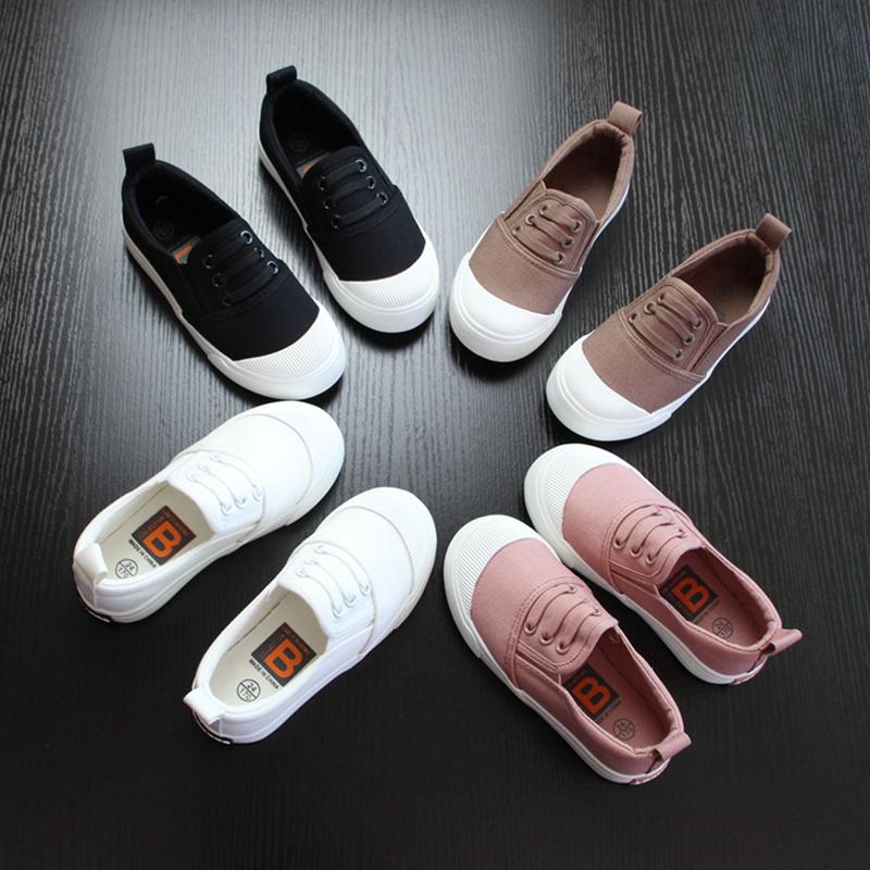 儿童帆布鞋男女童一脚蹬懒人童鞋男童布鞋2017春秋款黑白色帆布鞋