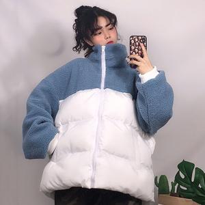 1 仿羊羔毛棉服女2018新款冬季韩版宽松面包服棉衣羊羔服