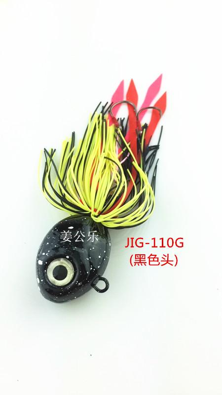 Los TIE-A-JIG110G barba barba cabeza de plomo y plomo - Cebo de calamar. El pegamento con falda al por mayor
