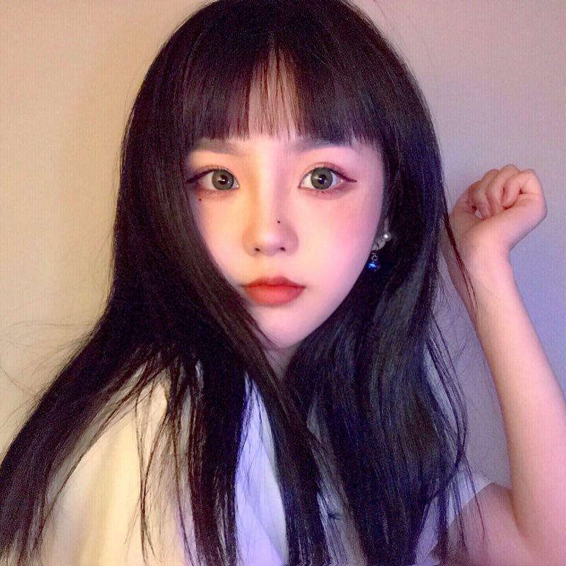 网红假发女黑长直发锁骨发一刀平黑色可爱自然修饰圆脸整顶假发套
