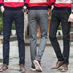 春季男士休闲裤男直筒裤子青年弹力学生修身小脚裤韩版长裤男装