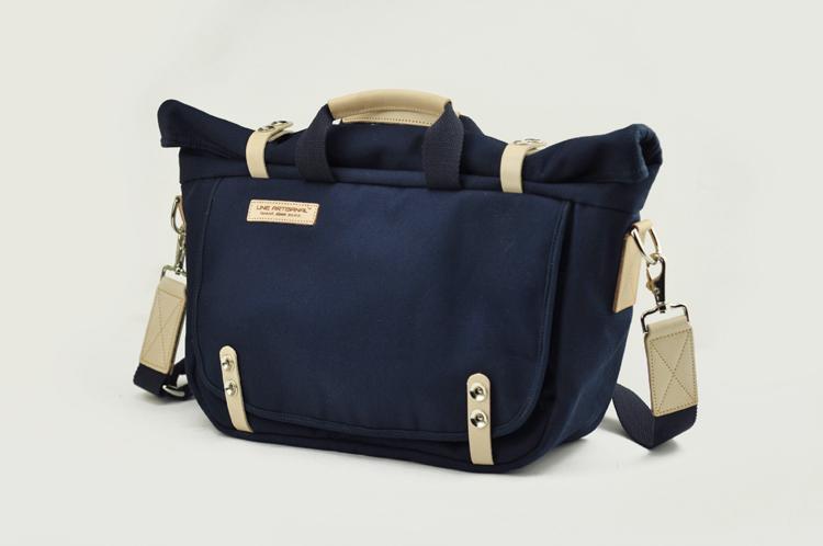 【匠线】LINE ARTISANAL原创手工 男女复古帆布 蓝色卷盖手提包