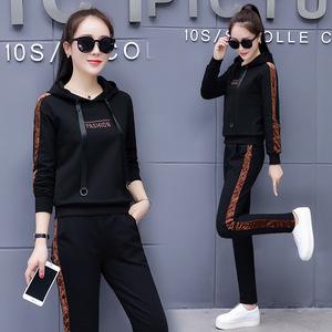 2018女生运动套装女两件套时尚韩版休闲大码宽松卫衣套装女潮J
