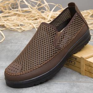 老头鞋老北京布鞋防臭男士老年凉鞋 夏天60-70岁透气男款老人布鞋