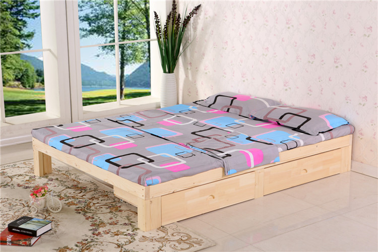 Shipping wood bed tatami bed single bed double bed 1.51.81.2 pine 1 simple bed for children